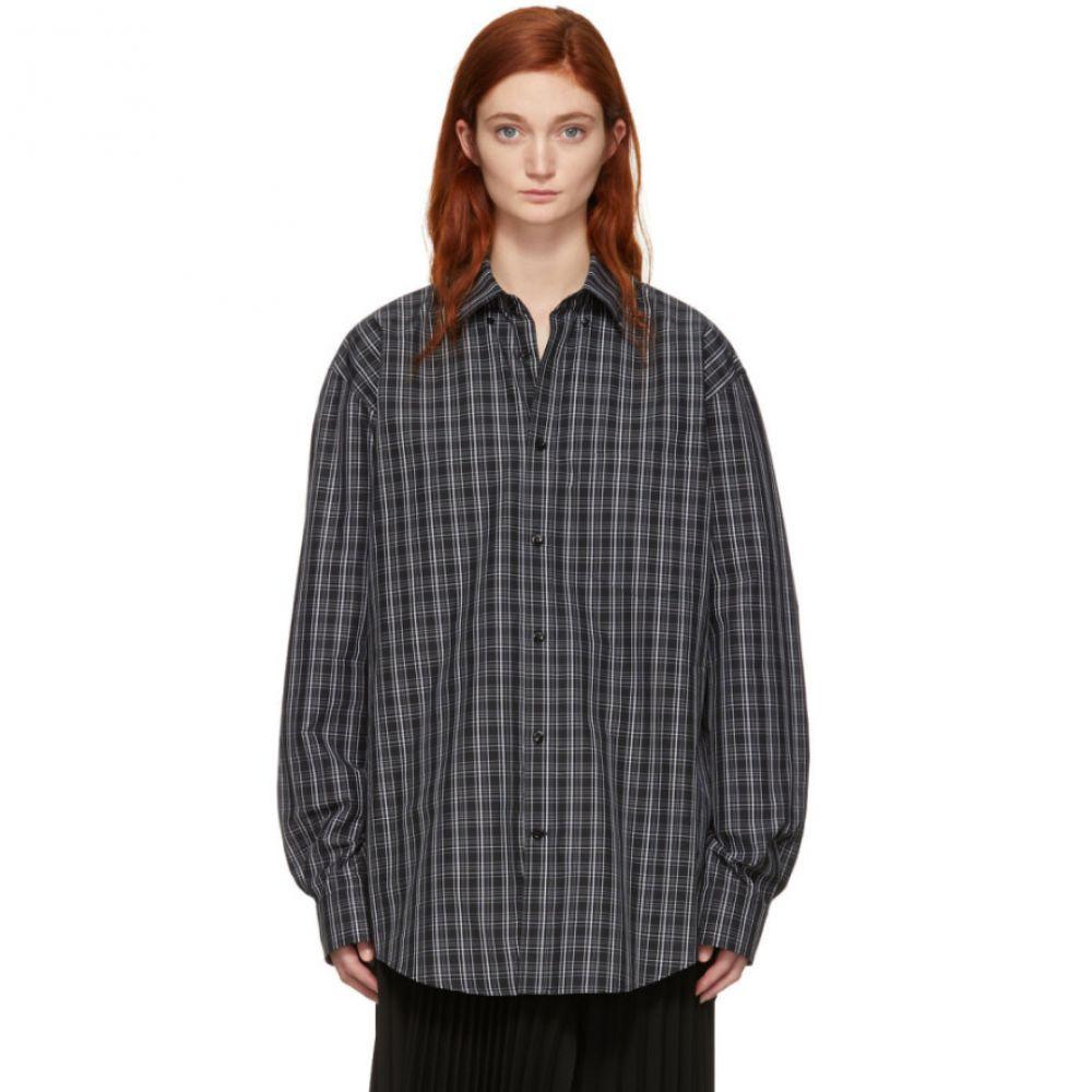バレンシアガ Balenciaga レディース ブラウス・シャツ トップス【Black & White Check Logo Shirt】