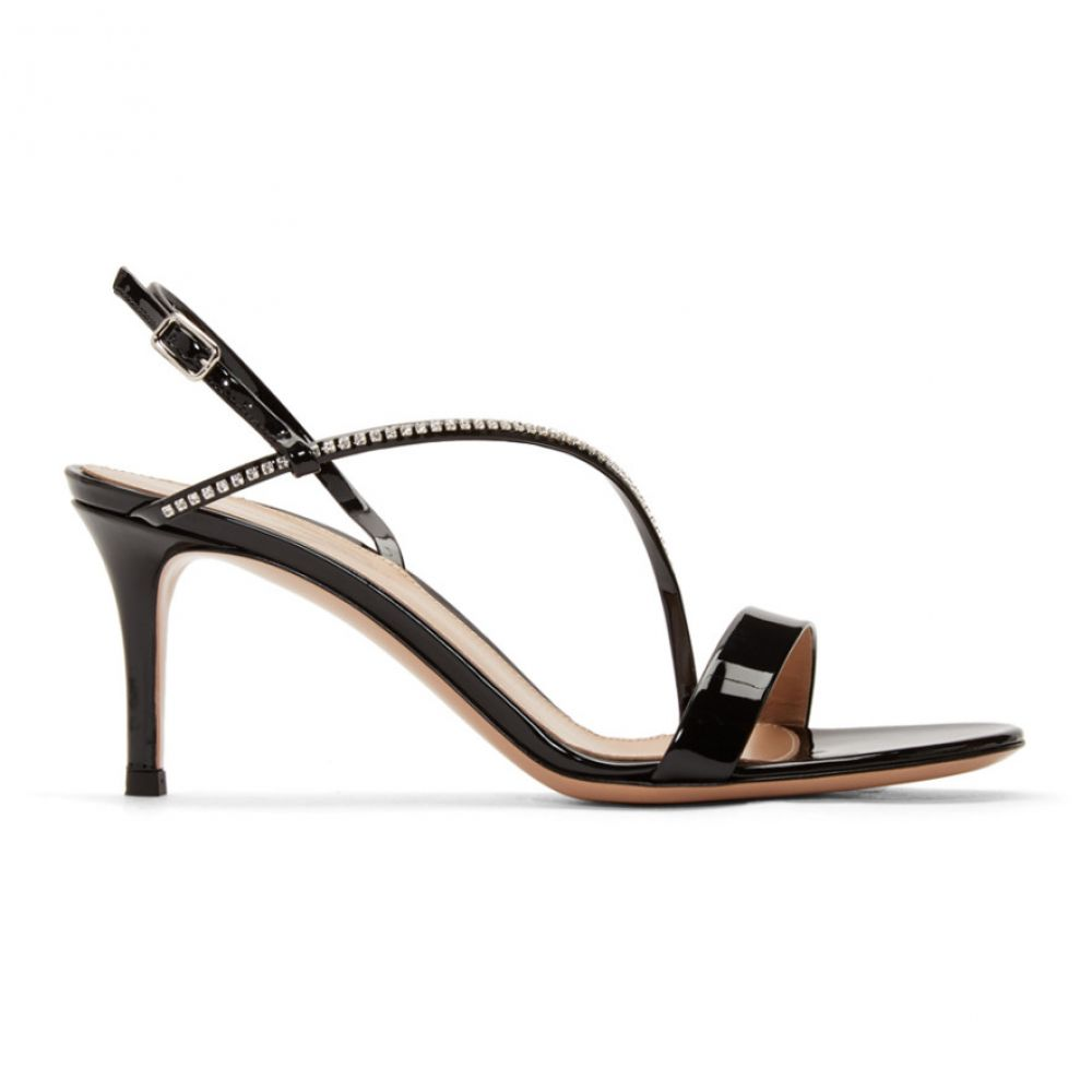 ジャンヴィト ロッシ Gianvito Rossi レディース サンダル・ミュール シューズ・靴【Black Patent Crystal Manhattan Strappy 70 Sandals】