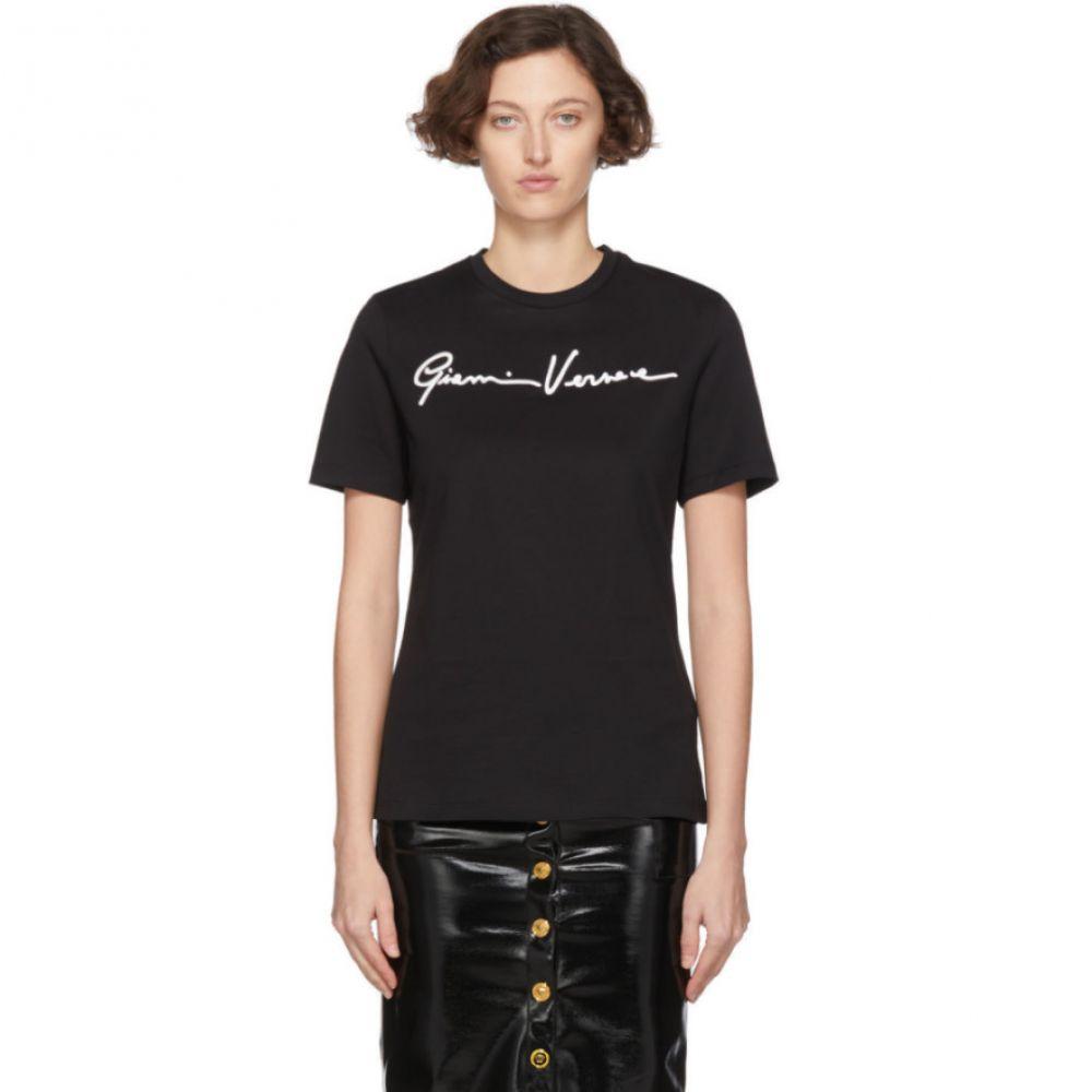 ヴェルサーチ Versace レディース Tシャツ トップス【Black 'Gianni ' Embroidered T-Shirt】