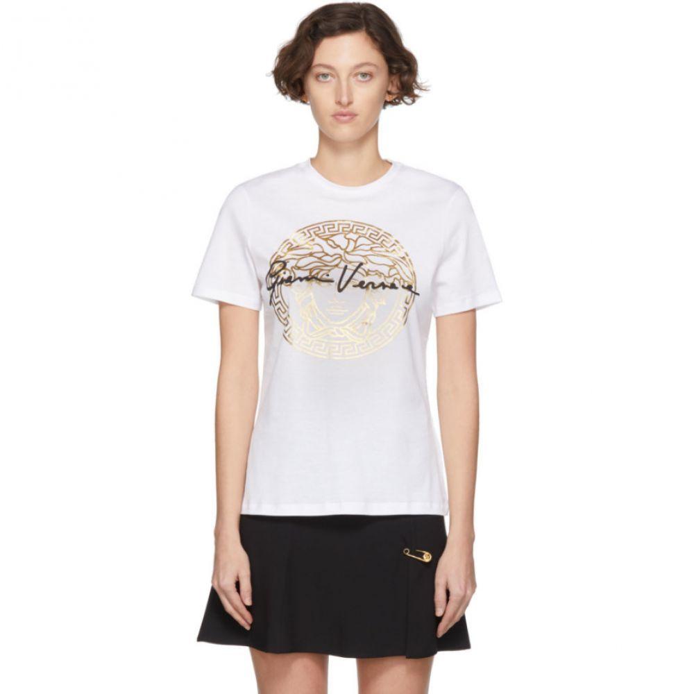 ヴェルサーチ Versace レディース Tシャツ トップス【White 'Gianni ' T-Shirt】