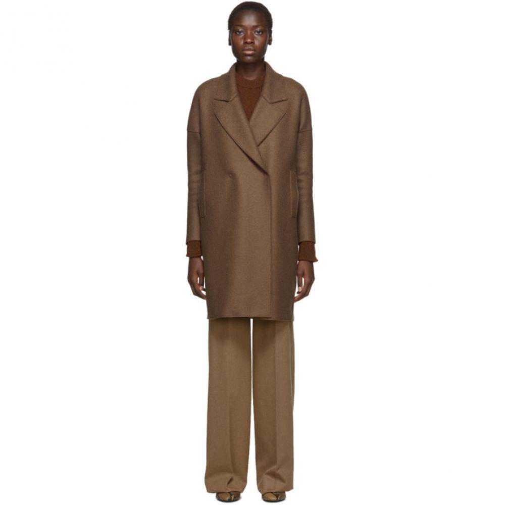 ハリスワーフロンドン Harris Wharf London レディース コート アウター【Brown Pressed Wool Fitted Sleeves Coat】