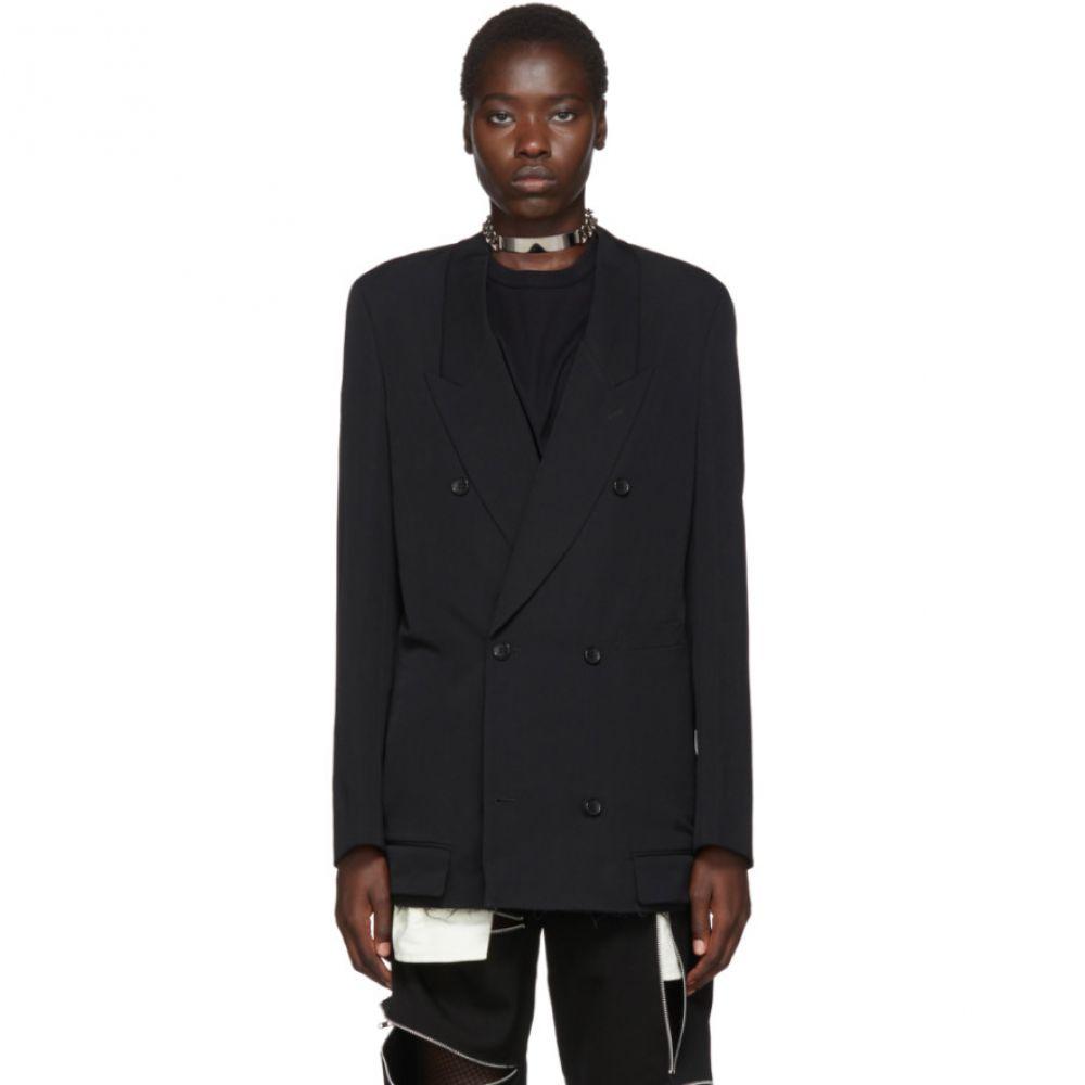 コム デ ギャルソン Comme des Garcons Homme Plus レディース スーツ・ジャケット アウター【Black Wool Double-Breasted Blazer】