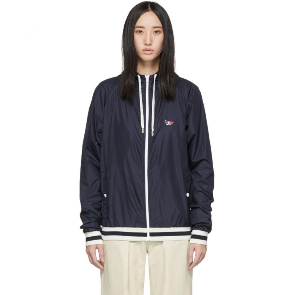メゾン キツネ Maison Kitsune レディース ジャケット フード ウィンドブレーカー アウター【Navy Hooded Windbreaker Jacket】