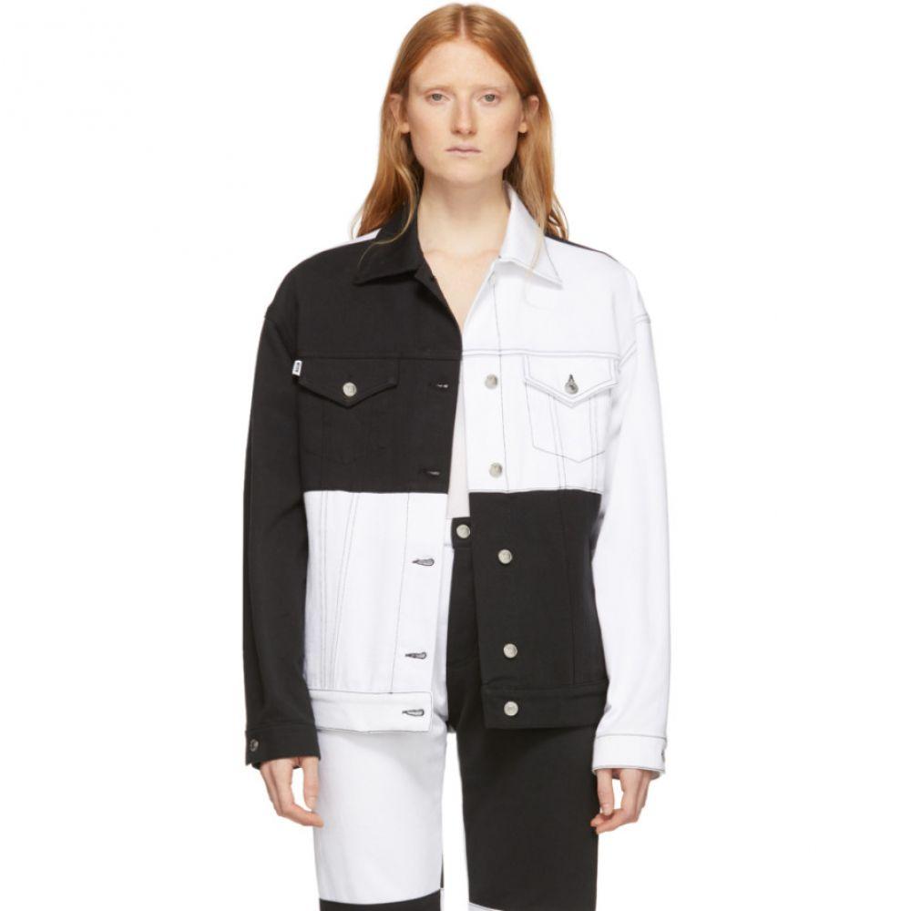 エムエスジーエム MSGM レディース ジャケット Gジャン アウター【White & Black Denim Colorblocked Jacket】