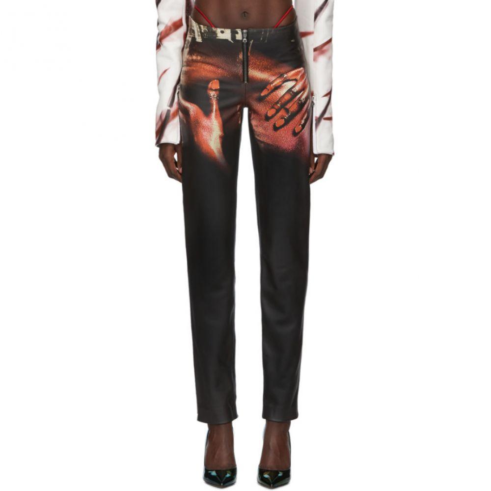 モワローラ Mowalola レディース ボトムス・パンツ 【SSENSE Exclusive Black Leather Touch Trousers】