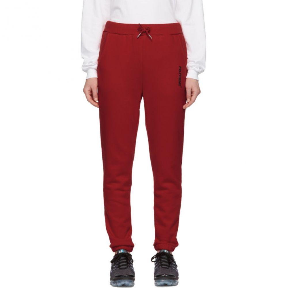 ポリシーン オプティクス Polythene* Optics レディース スウェット・ジャージ ボトムス・パンツ【Red Fleece Lounge Pants】