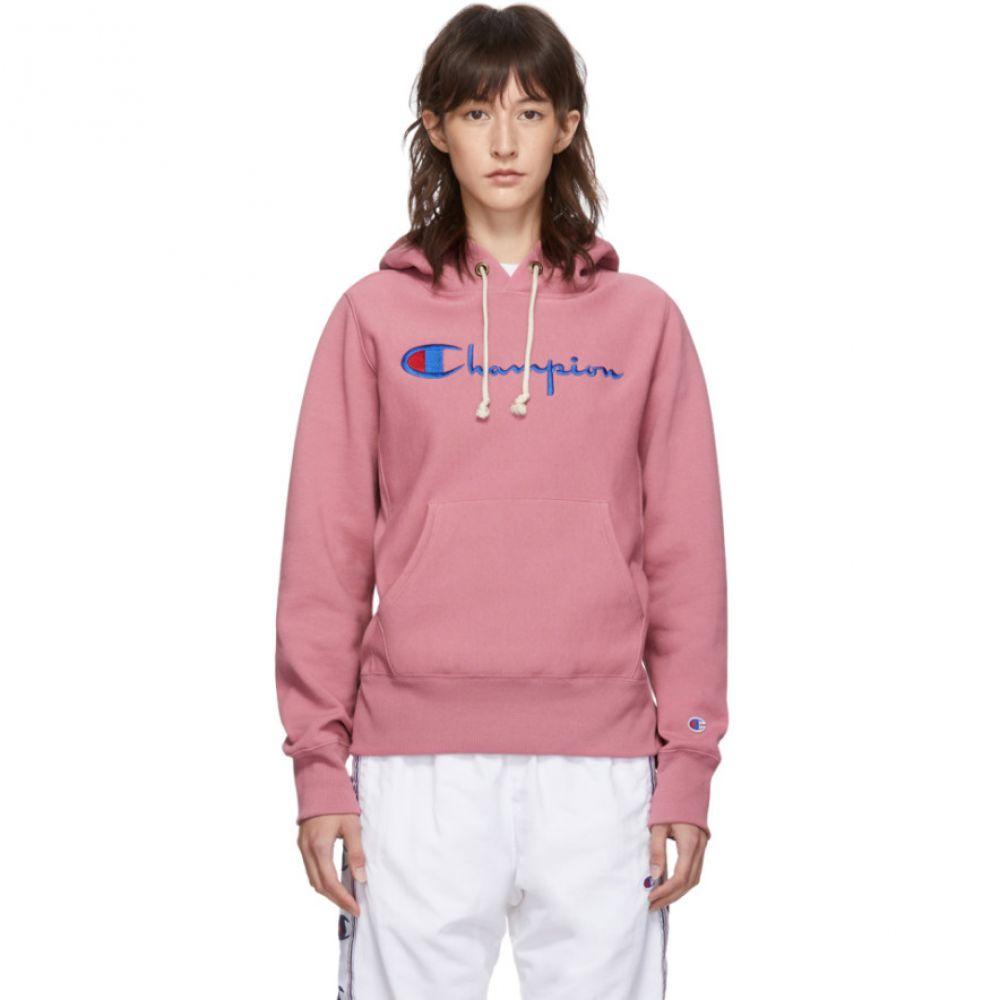チャンピオン レディース トップス パーカー 【サイズ交換無料】 チャンピオン Champion Reverse Weave レディース パーカー トップス【Pink Big Script Logo Hoodie】