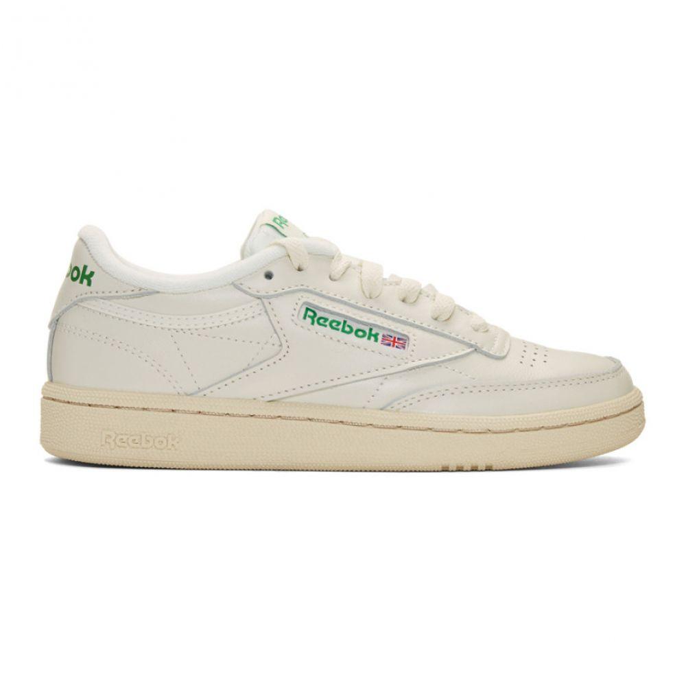 リーボック Reebok Classics レディース スニーカー シューズ・靴【Off-White & Green Club C 85 Vintage Sneakers】