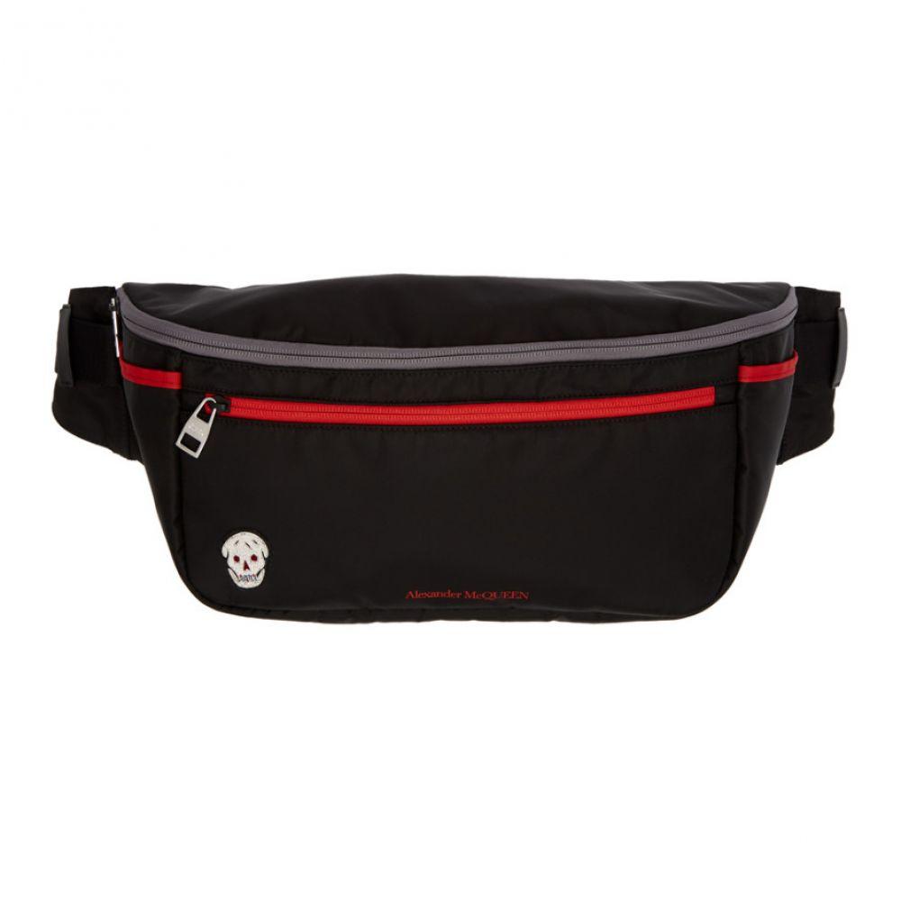 アレキサンダー マックイーン Alexander McQueen メンズ ボディバッグ・ウエストポーチ バッグ【Black & Red Double Zip Bum Bag】