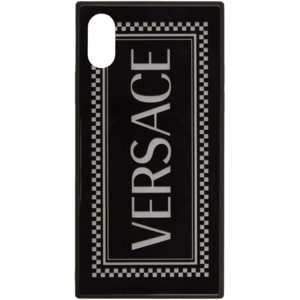 ヴェルサーチ Versace メンズ iPhone (X)ケース 【Black 90s Vintage Logo iPhone X Case】