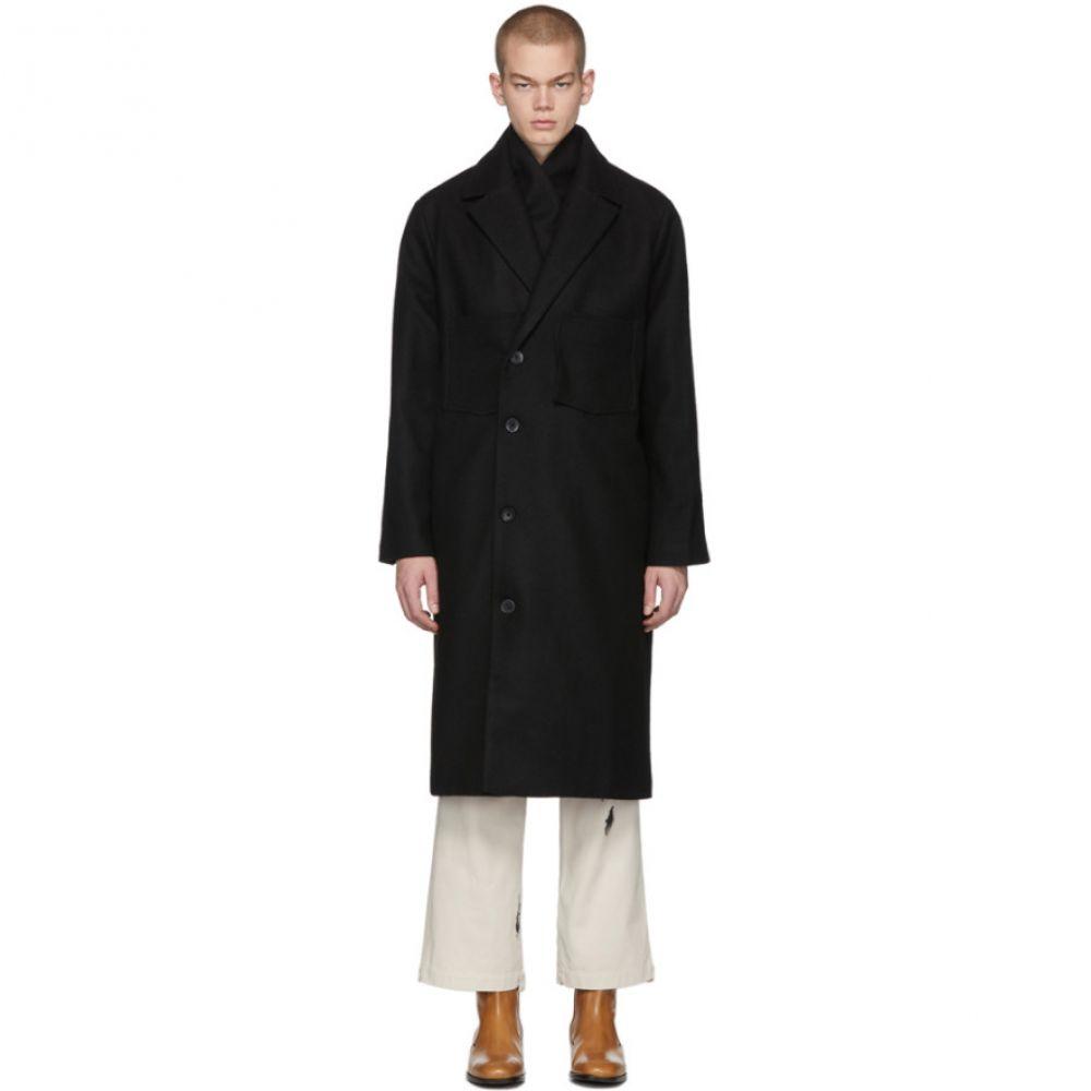 ル オムルージュ L'Homme Rouge メンズ コート アウター【Black Recycled Wool Coat】