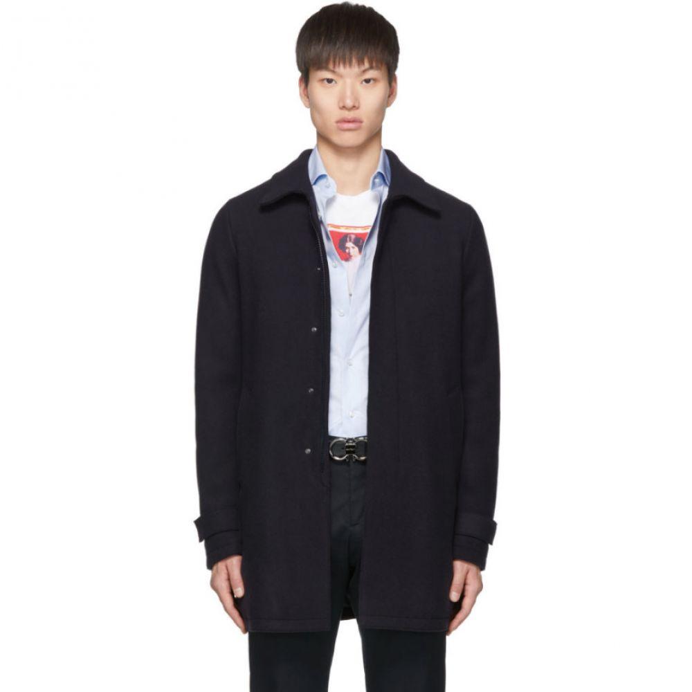 ヘルノ Herno メンズ コート アウター【Navy Wool Laser Cut Overcoat】