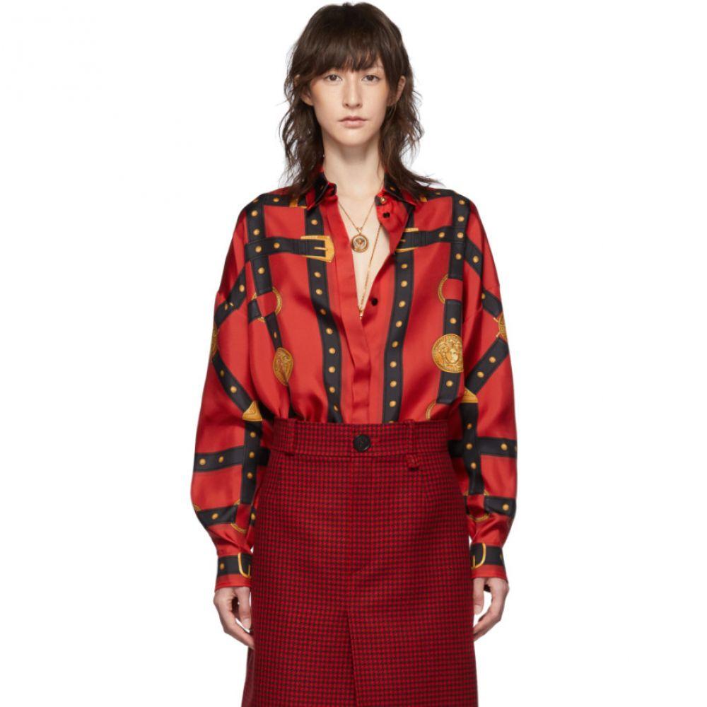 ヴェルサーチ Versace レディース ブラウス・シャツ トップス【Red Printed Bondage Shirt】