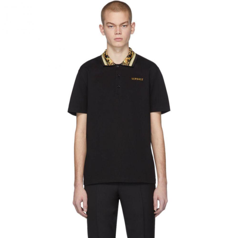 ヴェルサーチ Versace メンズ ポロシャツ トップス【Black Barocco Collar Polo】