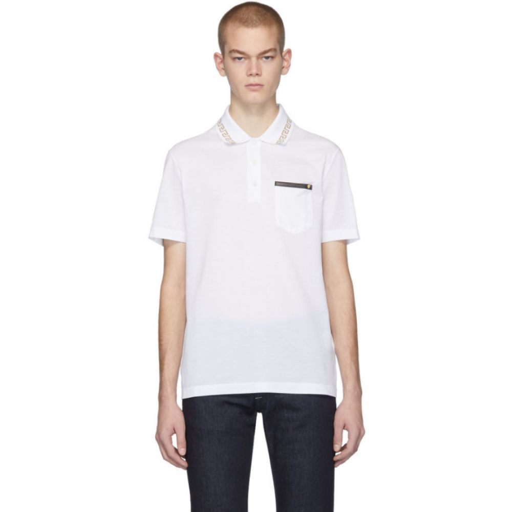 ヴェルサーチ Versace メンズ ポロシャツ トップス【White Greek Key Polo】