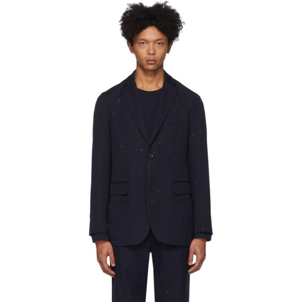 ブルーブルージャパン Blue Blue Japan メンズ スーツ・ジャケット アウター【Navy Wool Jacquard Starry Night Blazer】