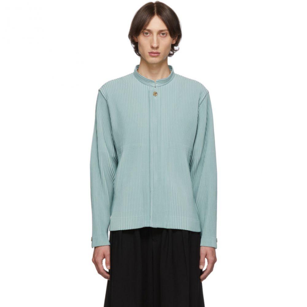イッセイ ミヤケ Homme Plisse Issey Miyake メンズ ジャケット スタンドカラー アウター【Blue Pleats Tailored Stand Collar Jacket】