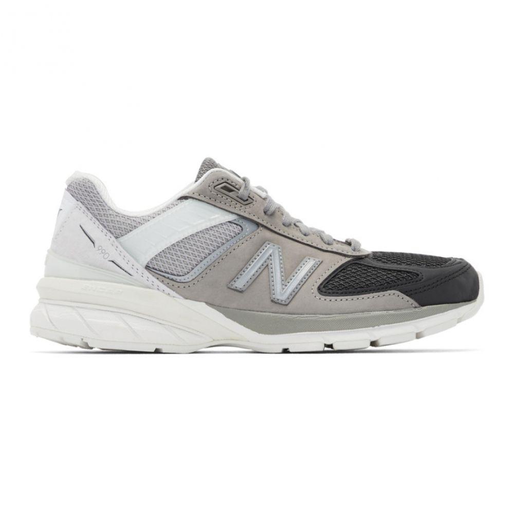 ニューバランス New Balance メンズ スニーカー シューズ・靴【Grey & Black US Made 990v5 Sneakers】