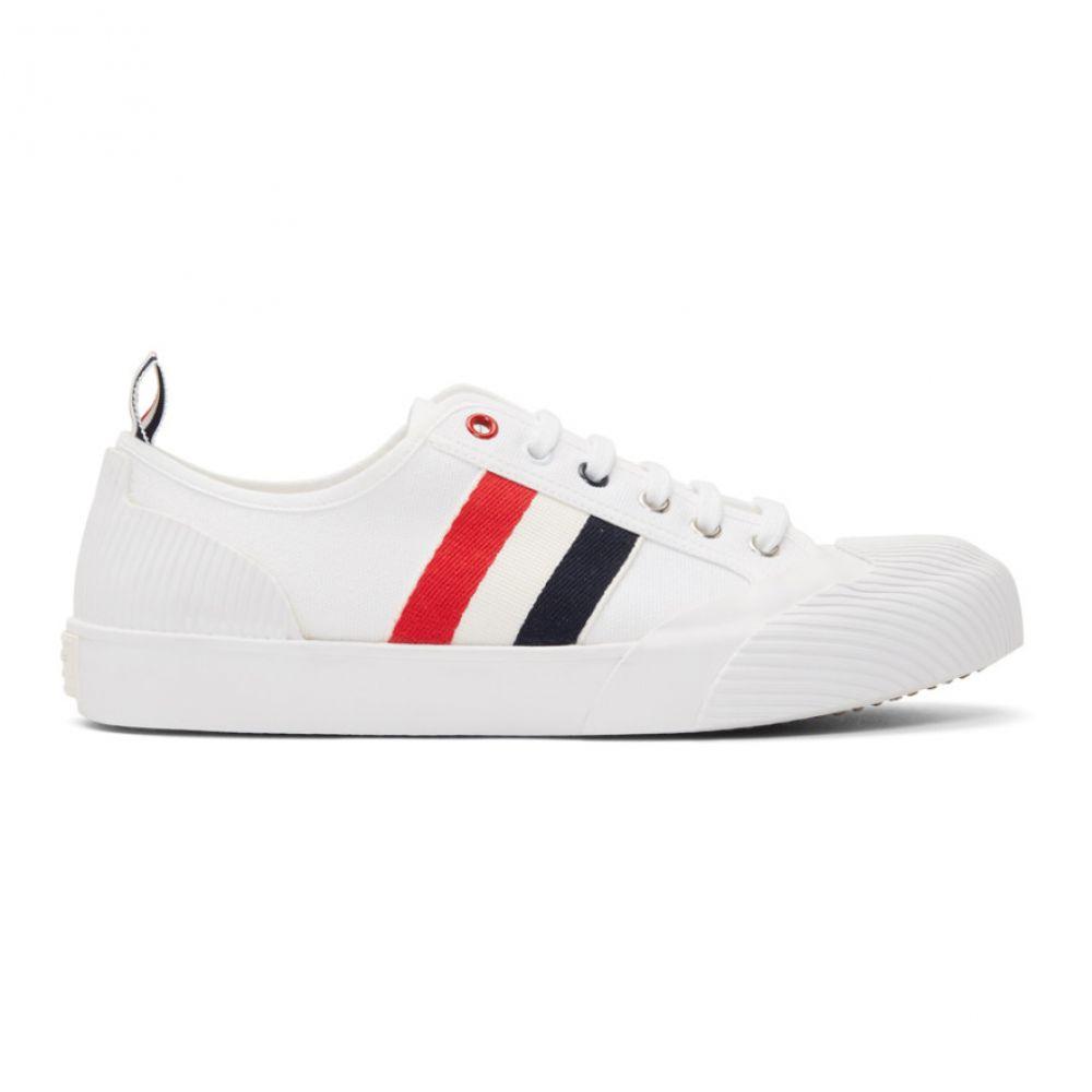 トム ブラウン Thom Browne メンズ スニーカー シューズ・靴【White Canvas Trainer Sneakers】