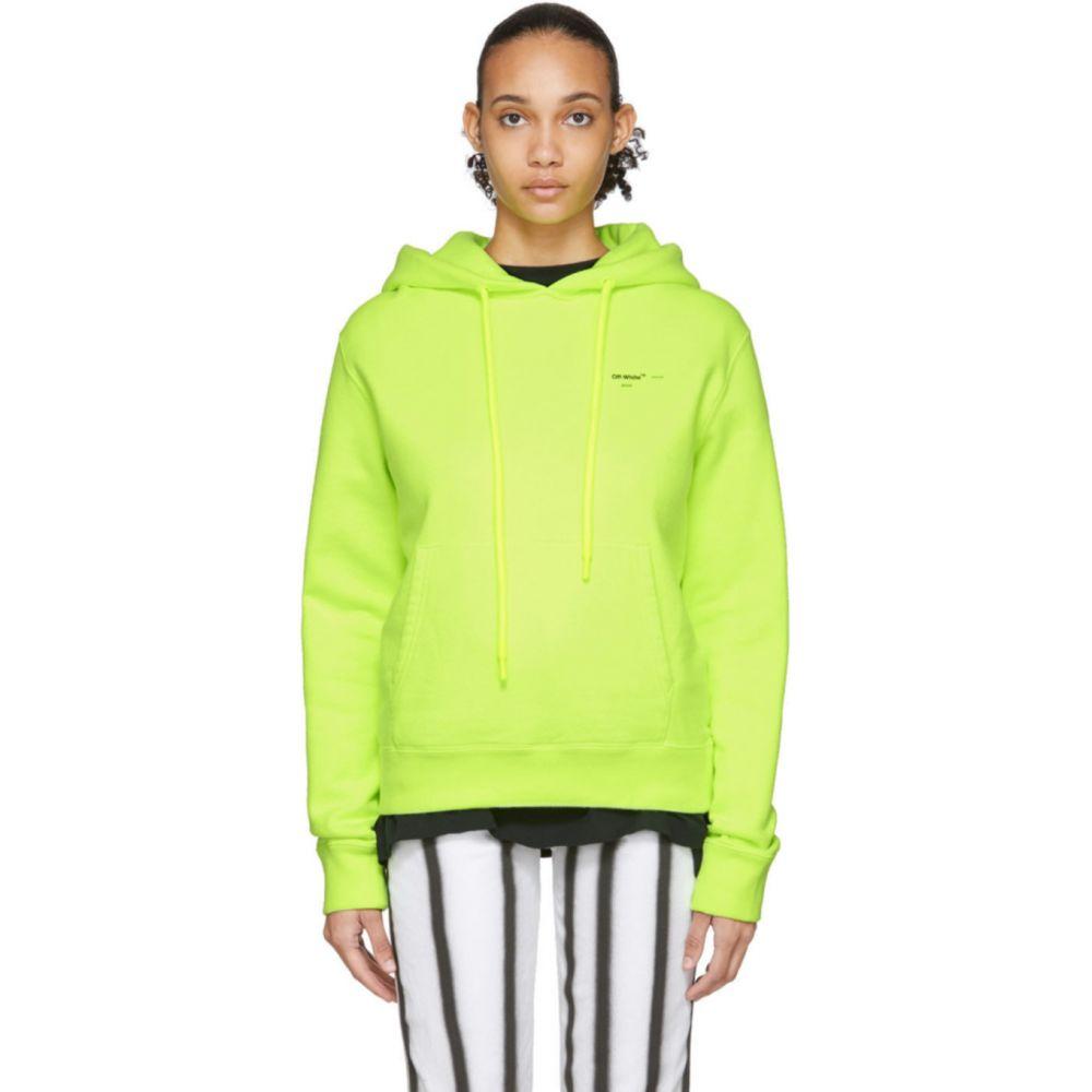 オフホワイト Off-White レディース パーカー トップス【Yellow Arrows Logo Hoodie】Fluorescent yellow