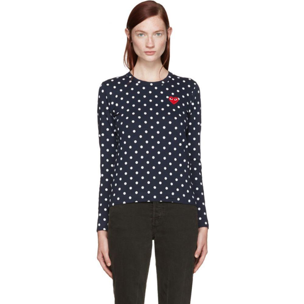 コム デ ギャルソン Comme des Garcons Play レディース Tシャツ トップス【Navy Polka Dot Heart Patch T-Shirt】