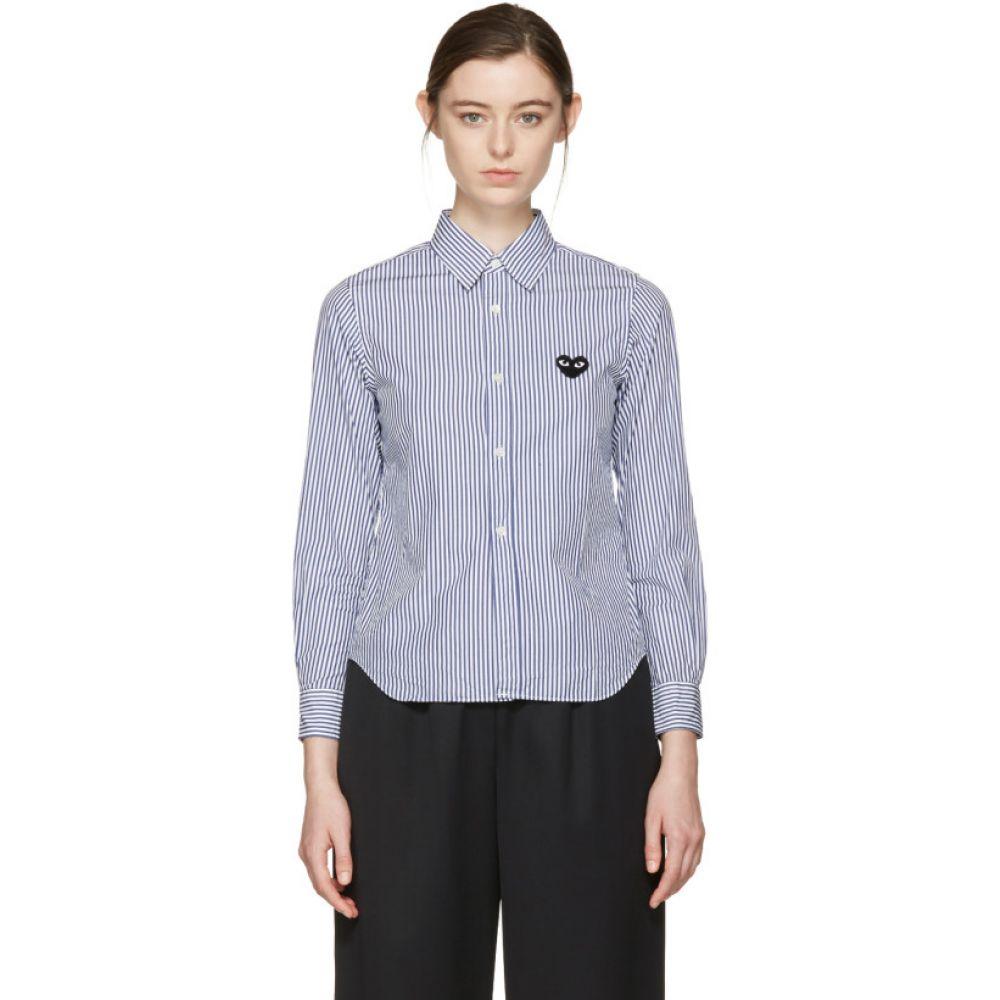 コム デ ギャルソン Comme des Garcons Play レディース ブラウス・シャツ トップス【Blue & White Striped Heart Patch Shirt】