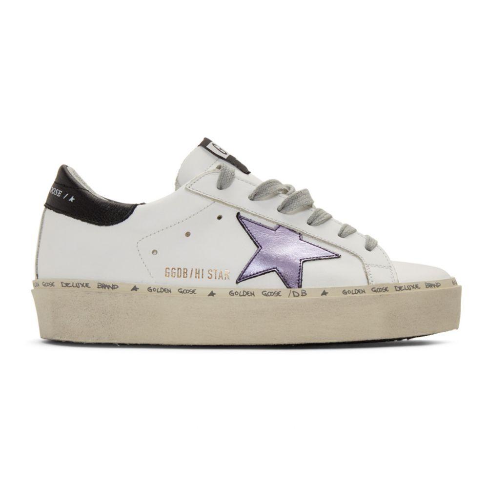 ゴールデン グース Golden Goose レディース スニーカー シューズ・靴【White & Purple Hi Star Sneakers】White leather/Lilla laminated