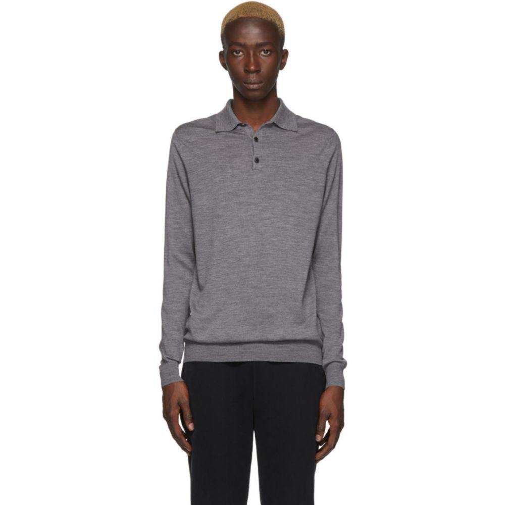 サンスペル Sunspel メンズ ポロシャツ トップス【Grey Merino Wool Polo】Grey