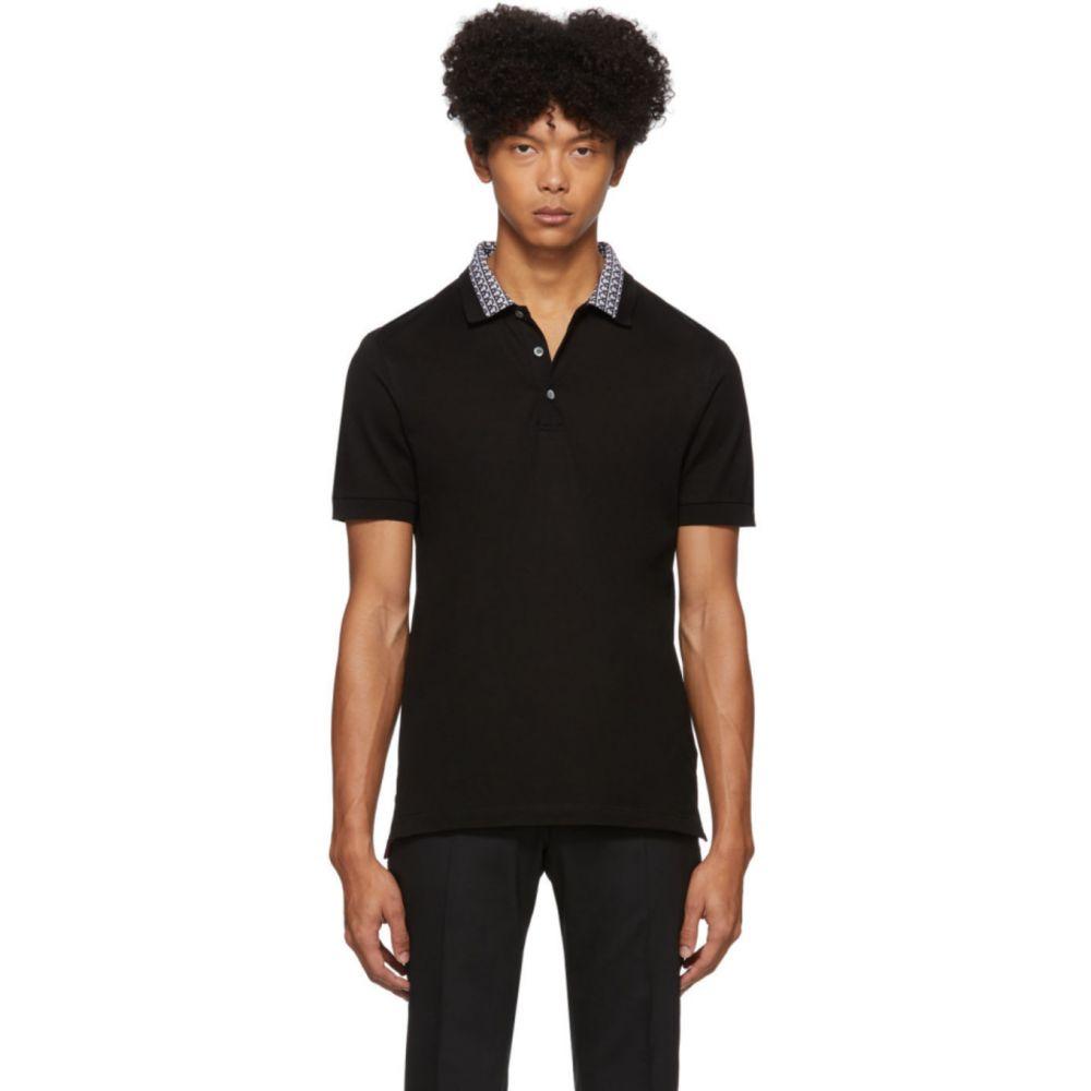 サルヴァトーレ フェラガモ Salvatore Ferragamo メンズ ポロシャツ トップス【Black Collar Print Polo】Black