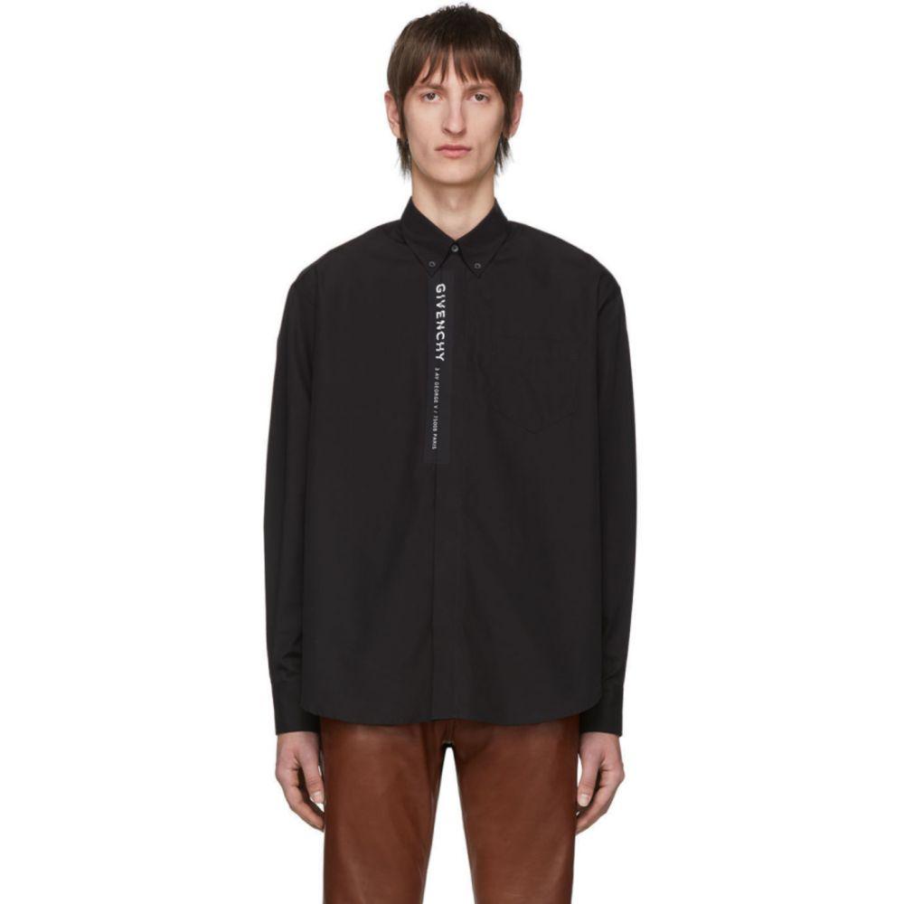 ジバンシー Givenchy メンズ シャツ トップス【Black Poplin Logo Shirt】Black