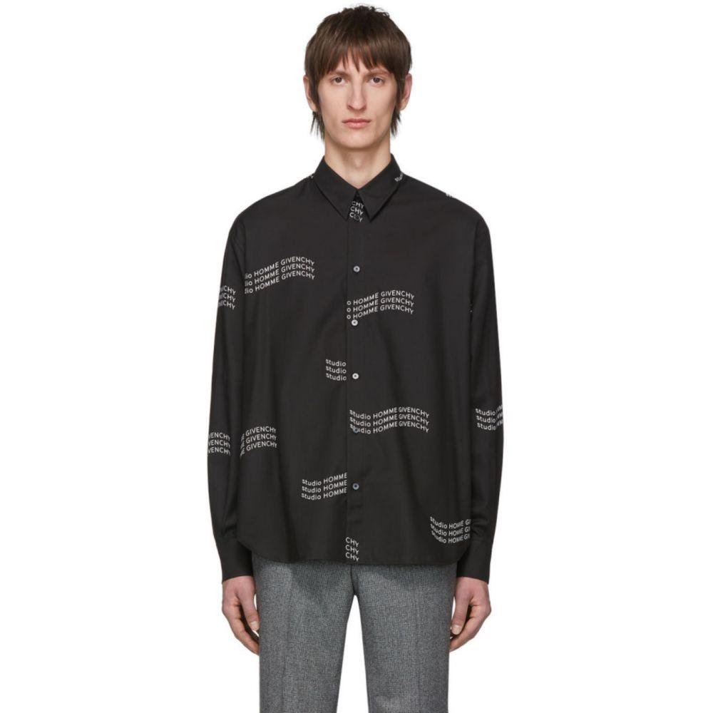 ジバンシー Givenchy メンズ シャツ トップス【Black Twill Printed Shirt】Black