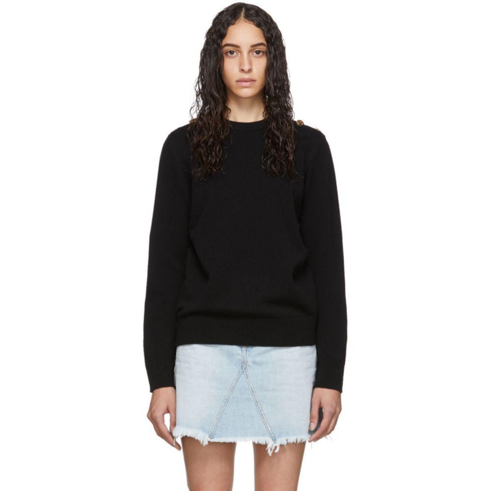 ジバンシー Givenchy レディース ニット・セーター トップス【Black Wool Fantasy Button Crewneck】Black