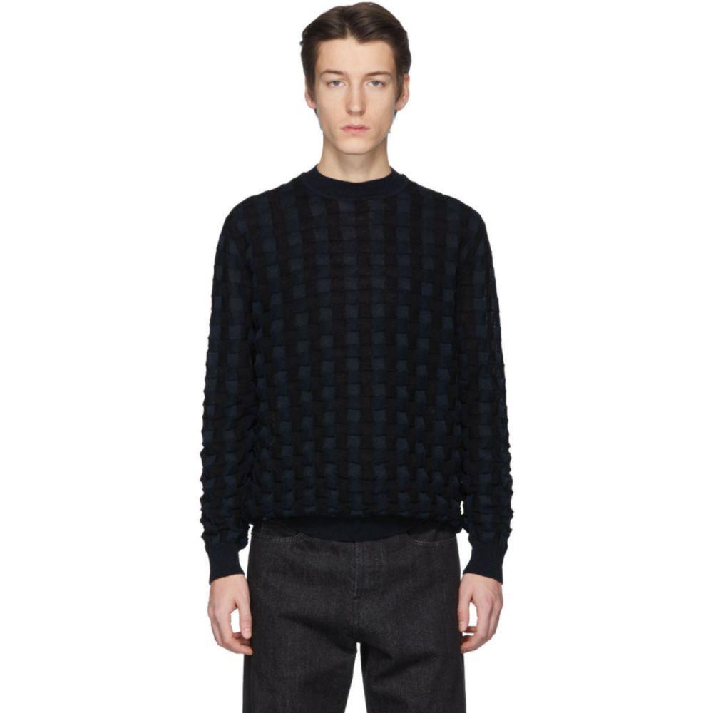 ジル サンダー Jil Sander メンズ ニット・セーター トップス【Black & Navy Basket Wool Sweater】Dark blue/Black