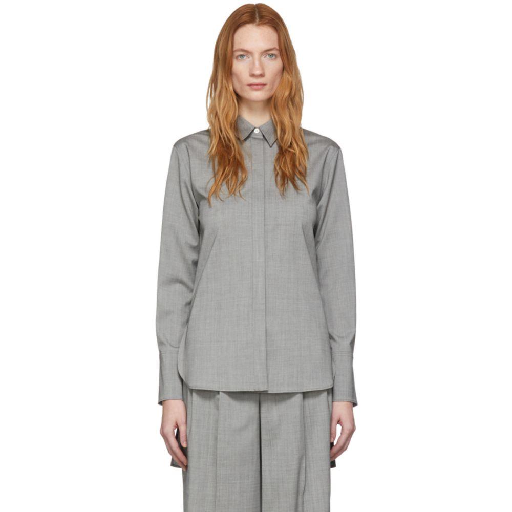 ジョゼフ Joseph レディース ブラウス・シャツ トップス【Grey Wool Oldfield Shirt】Steel
