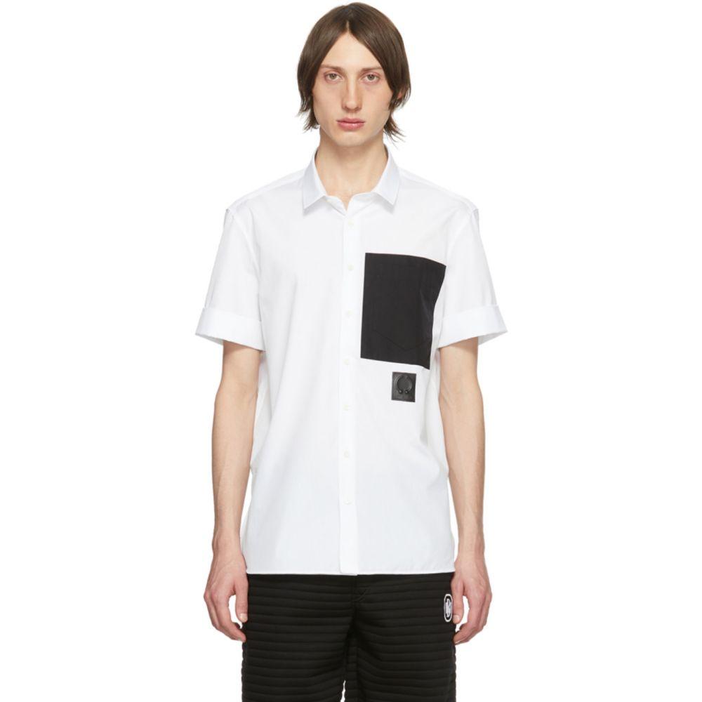 ニール バレット Neil Barrett メンズ 半袖シャツ トップス【White Black Pocket Short Sleeve Shirt】White/Black