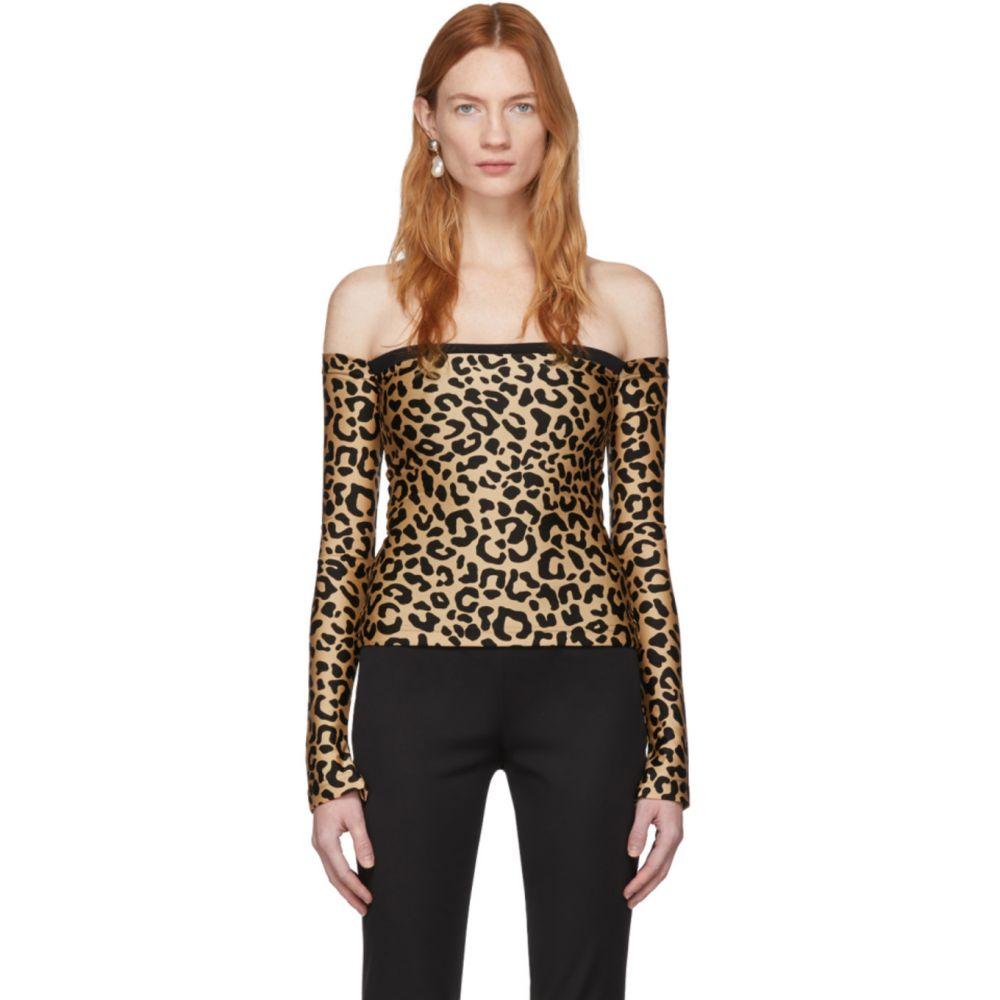 ハルパーン Halpern レディース トップス 【Tan & Black Leopard Bare Shoulder Top】Leopard