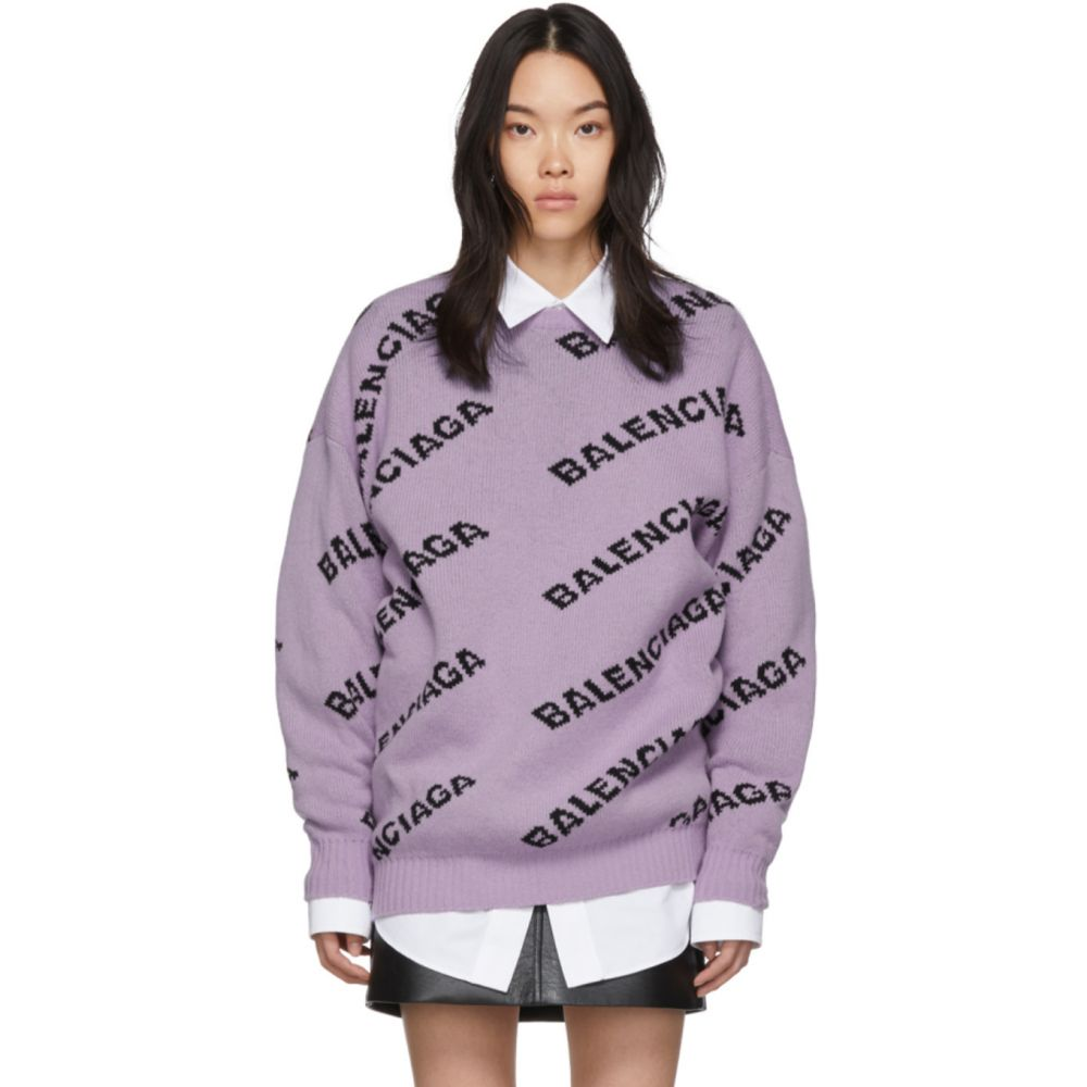 バレンシアガ Balenciaga レディース ニット・セーター トップス【Purple All Over Logo Sweater】Lilac/Black