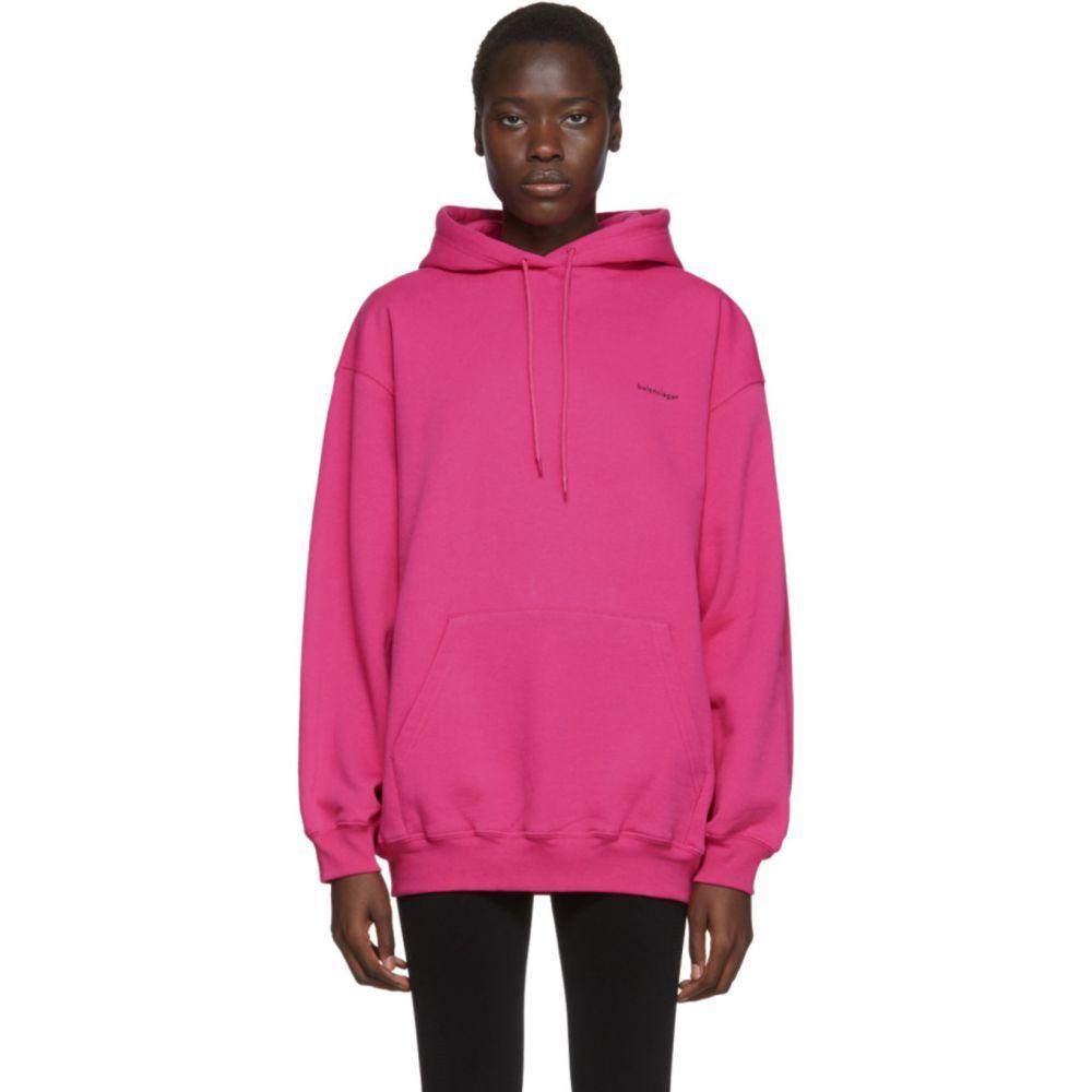 バレンシアガ Balenciaga レディース パーカー トップス【Pink Copyright Logo Hoodie】Pink
