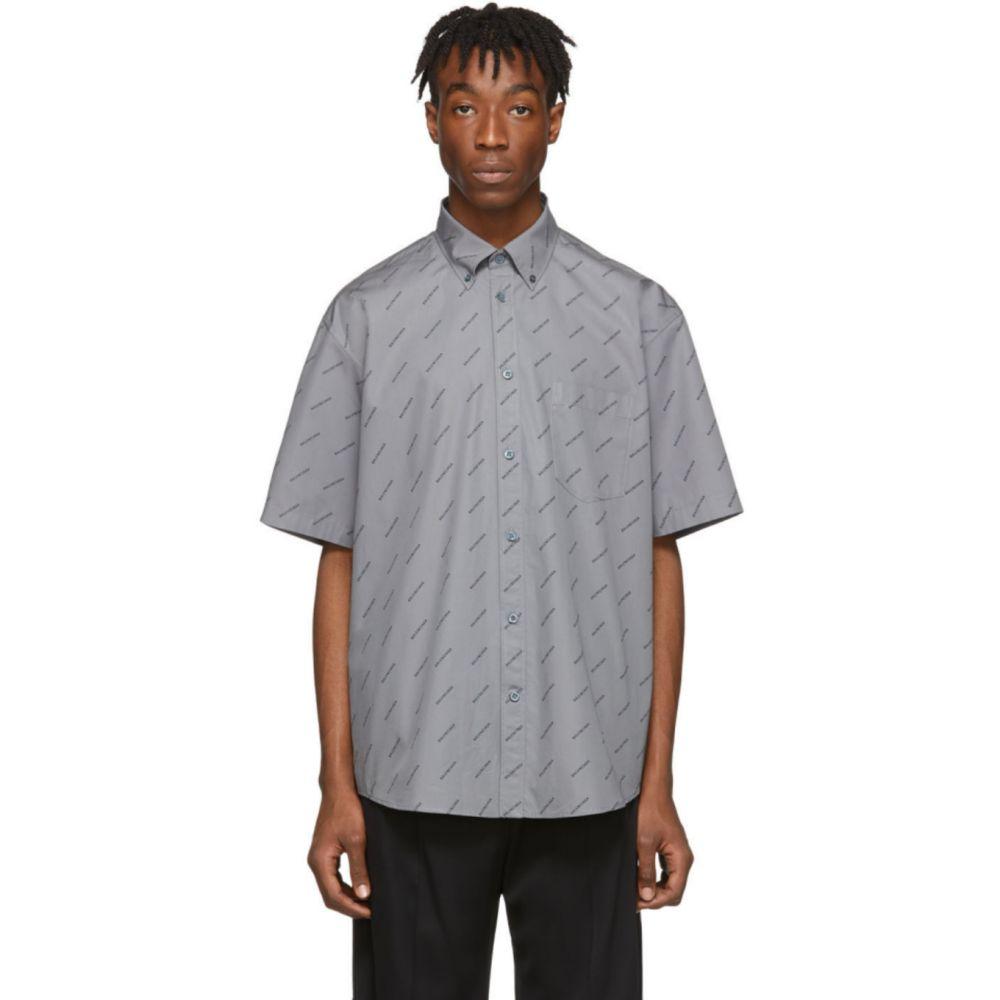 バレンシアガ Balenciaga メンズ 半袖シャツ トップス【Grey All Over Logo Short Sleeve Shirt】Grey