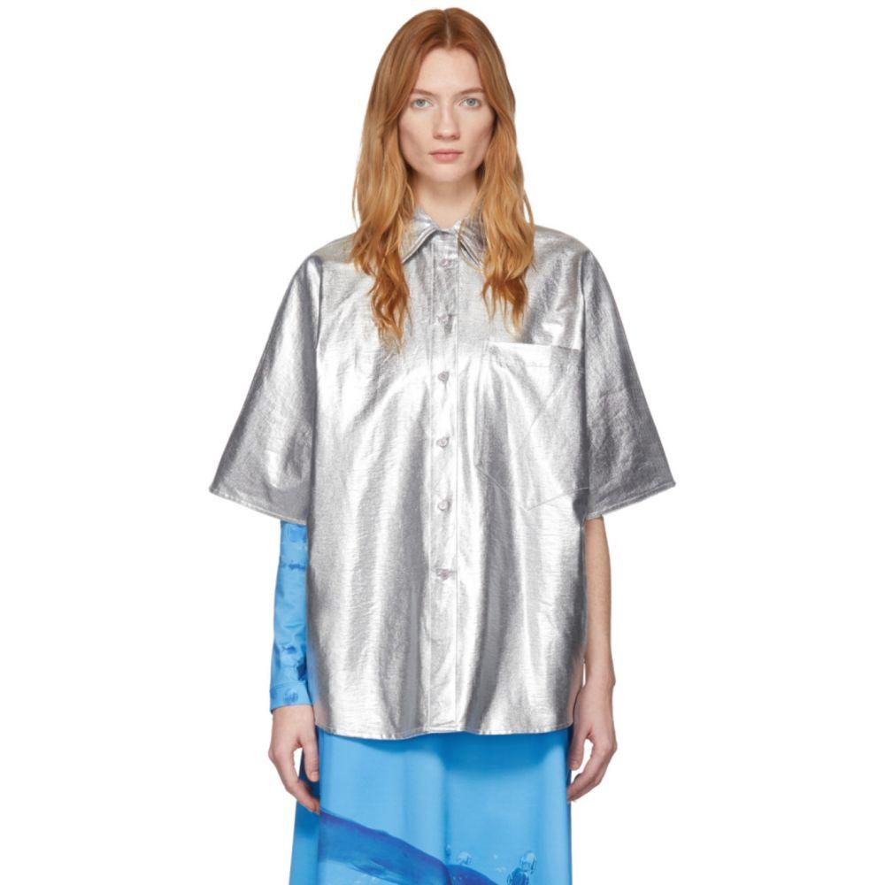 プッシュボタン Pushbutton レディース ブラウス・シャツ オーバーシャツ トップス【Silver Metallic Over Shirt】Silver