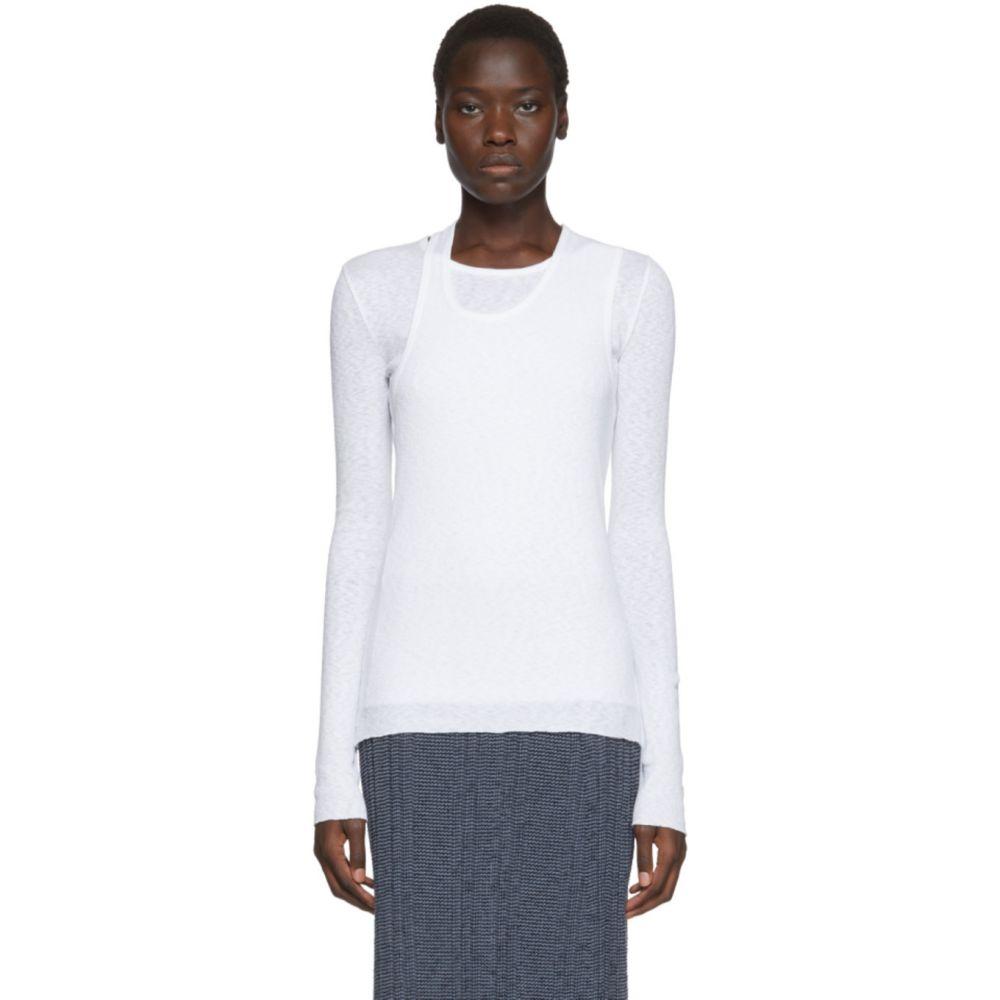 ヘルムート ラング Helmut Lang レディース 長袖Tシャツ トップス【White Double Layer Long Sleeve T-Shirt】White