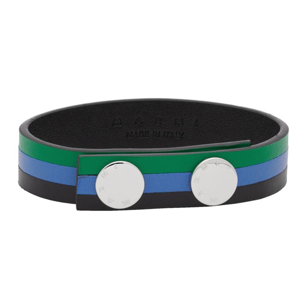 マルニ Marni メンズ ブレスレット ジュエリー・アクセサリー【Green & Blue Leather Bracelet】Moss