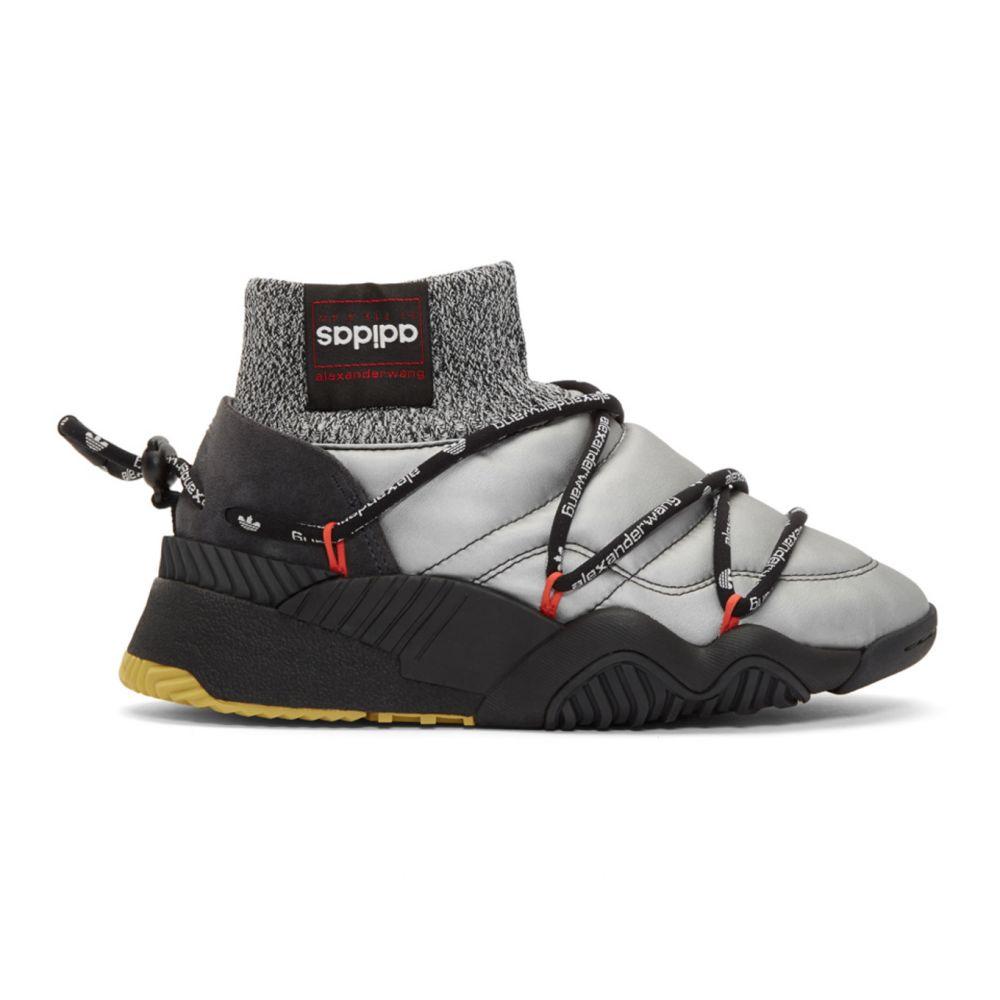 アディダス adidas Originals by Alexander Wang レディース スニーカー シューズ・靴【Silver & Black Puff High-Top Sneakers】Silver/Black