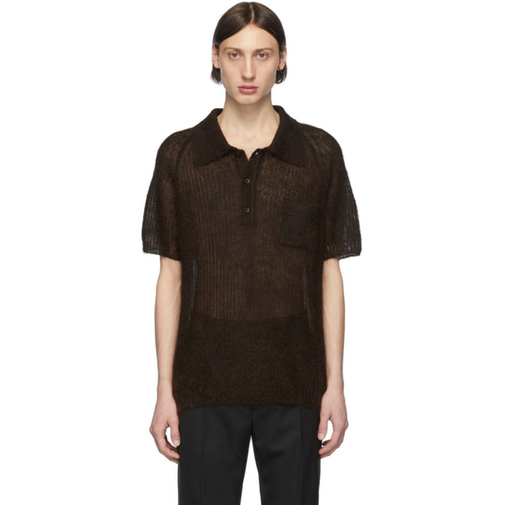 メゾン マルジェラ Maison Margiela メンズ ポロシャツ トップス【Brown Open Knit Polo】Brown