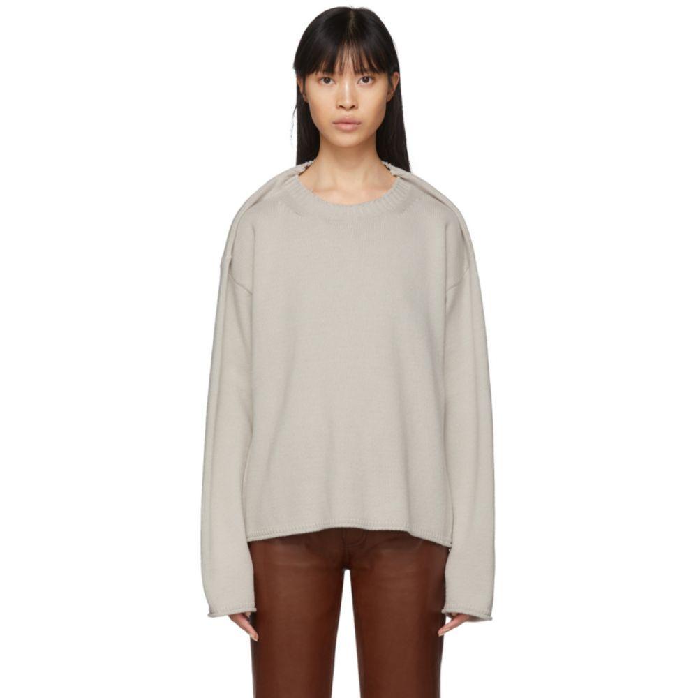 メゾン マルジェラ Maison Margiela レディース ニット・セーター トップス【Off-White Wool Gauge 11 Sweater】Ice white