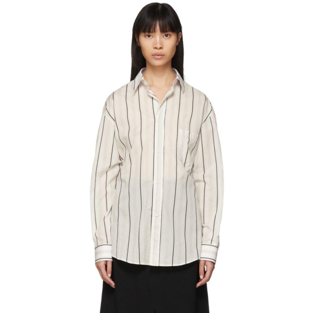 メゾン マルジェラ Maison Margiela レディース ブラウス・シャツ トップス【Off-White Striped Shirt】Off-White