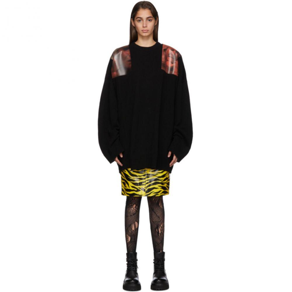 ラフ シモンズ Raf Simons レディース ニット・セーター トップス【Black Oversized Patches Sweater】Red