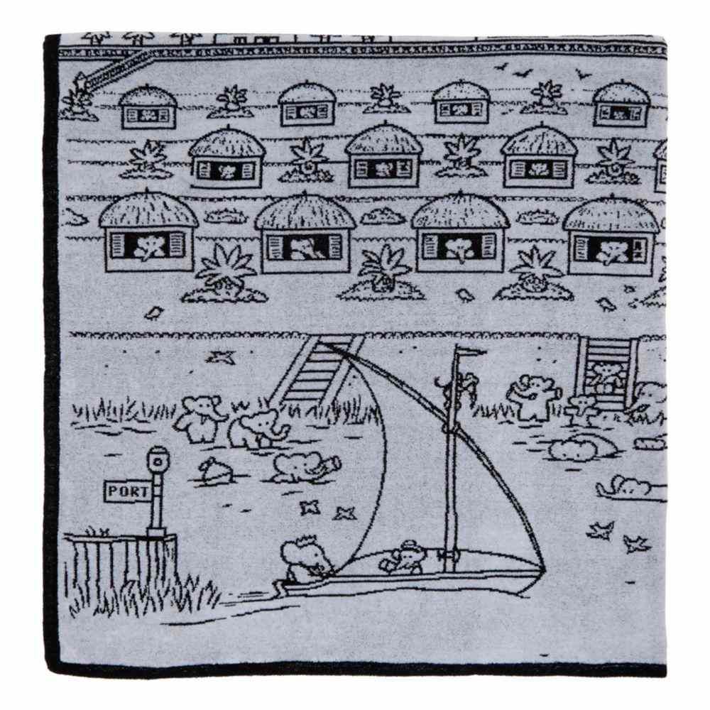 ランバン Lanvin レディース タオル 【Black & White Illustrated Hut Towel】Black/White