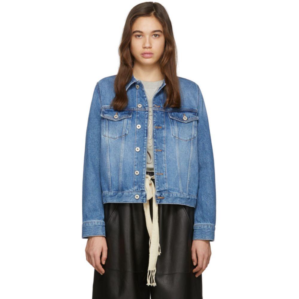 ロエベ Loewe レディース ジャケット Gジャン アウター【Blue Denim Adjustable Jacket】Washed