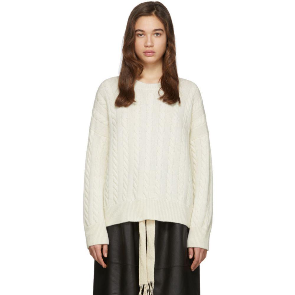ロエベ Loewe レディース ニット・セーター トップス【Off-White Cable Crewneck Sweater】Ecru